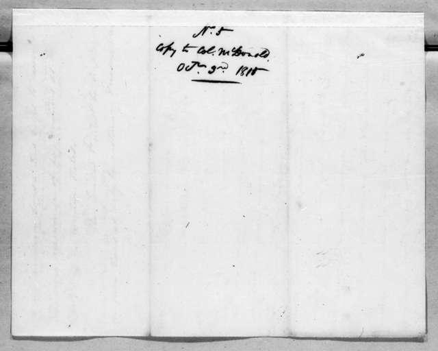 Edmund Pendleton Gaines to James McDonald, October 3, 1815