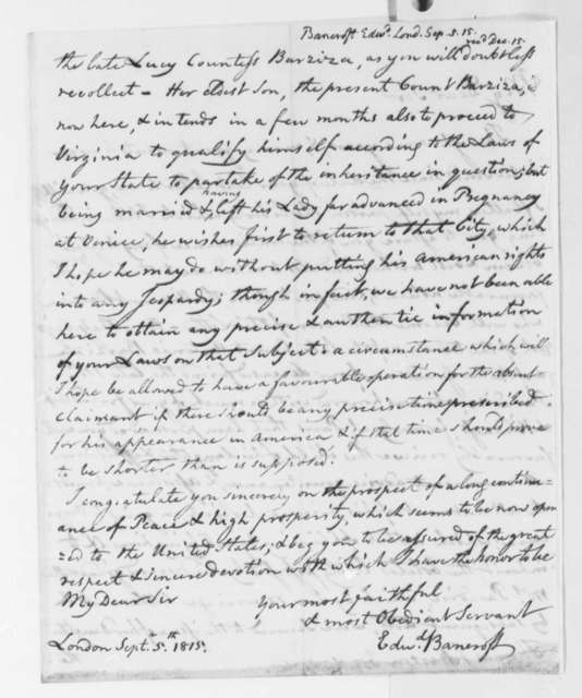 Edward Bancroft to Thomas Jefferson, September 5, 1815