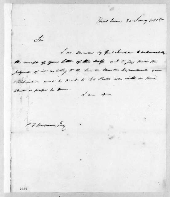 Edward Livingston to Pierre Francois DuBourg, January 30, 1815