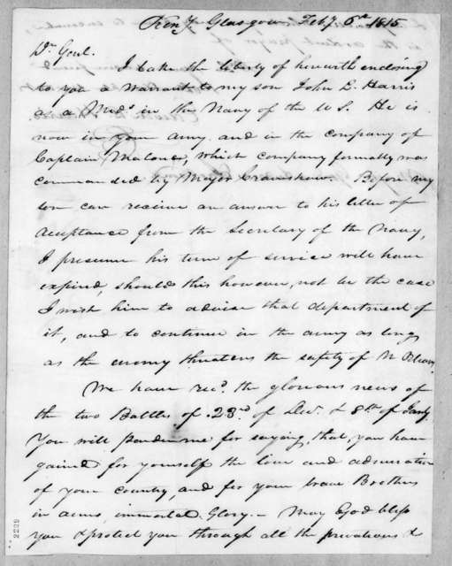 Edwin L. Harris to Andrew Jackson, February 6, 1815