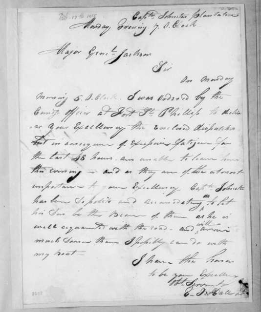 Elisha T. Hall to Andrew Jackson, February 17, 1815