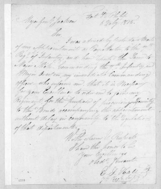 Elisha T. Hall to Andrew Jackson, February 6, 1815