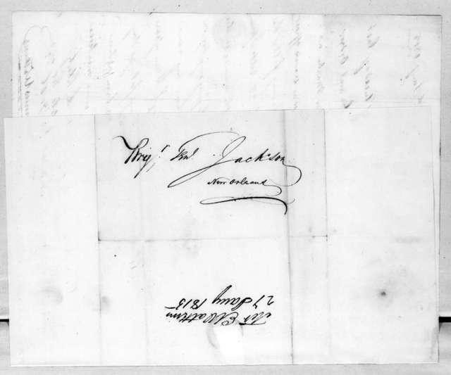 Erasmus Watkins to Andrew Jackson, January 27, 1815