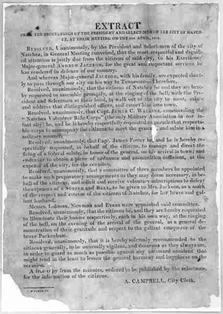 Extract from the proceedings of the President and selectmen of the city of Natchez, at their meeting on the 4th April, 1815 ... A. Campbell, City Clerk. [Natchez] J M'Curdy Pr. [1815].