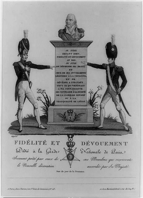 Fidélité et dévouement dédié à la Garde Nationale de Paris : serment prêté par ceux de ses membres qui reçoivents la nouvelle décoration accordée par Sa Majesté ...