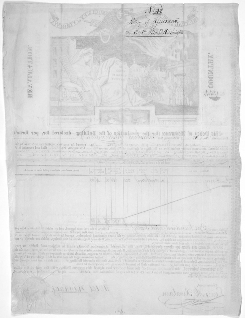 [Fire insurance policy issued to Bushrod Washington for the dairy at Mount Vernon, dated in mss. Dec. 6, 1815. at Richmond].