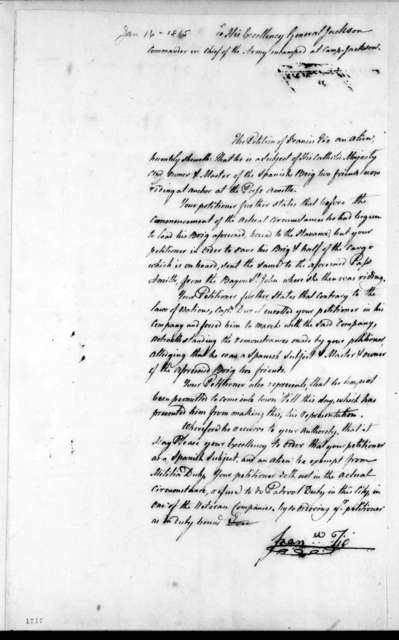 Francisco Fio to Andrew Jackson, January 16, 1815