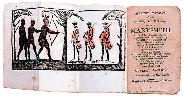 """[Frontispiece and title page from """"An affecting narrative of the captivity and sufferings of Mrs. Mary Smith"""" showing three Native men, one with bow and arrow, facing three Euro-American men, two with rifles]"""