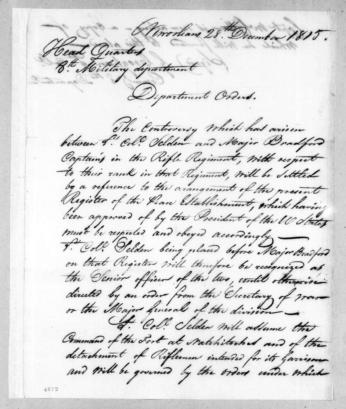 George Croghan, December 28, 1815