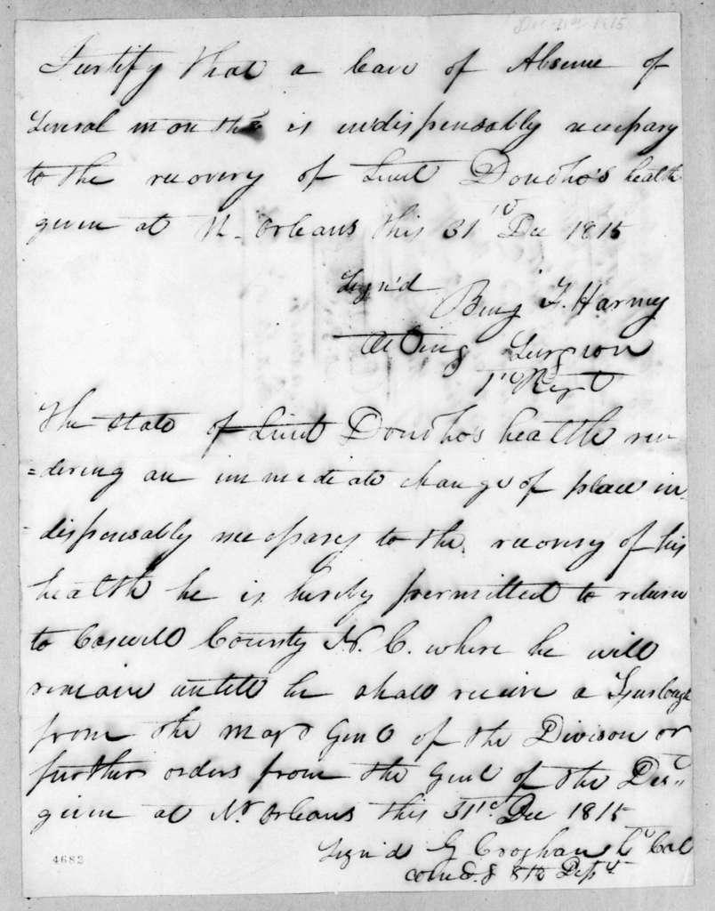 George Croghan, December 31, 1815