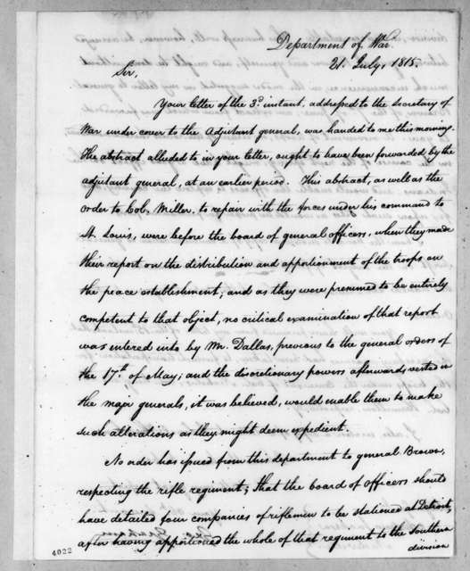 George Graham to Andrew Jackson, July 21, 1815