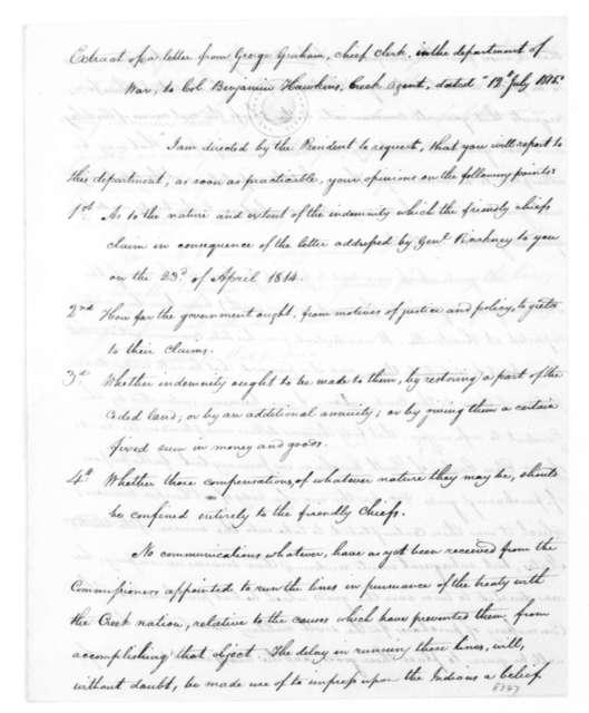 George Graham to Benjamin Hawkins, July 12, 1815. Extract.