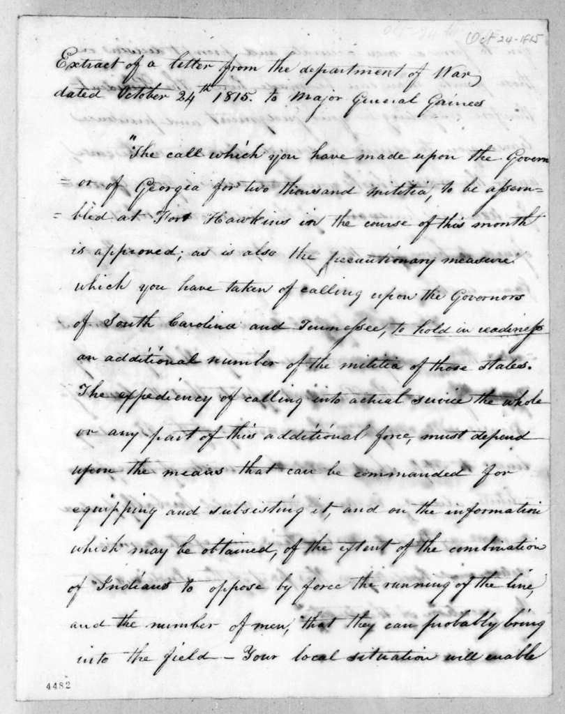 George Graham to Edmund Pendleton Gaines, October 24, 1815