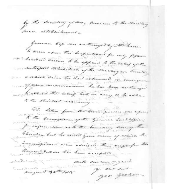George Graham to James Madison, August 30, 1815.