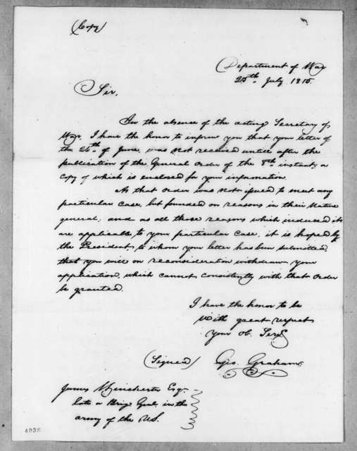 George Graham to James Winchester, July 25, 1815
