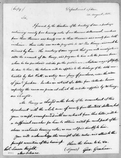 George Graham to Simeon Knight, August 21, 1815