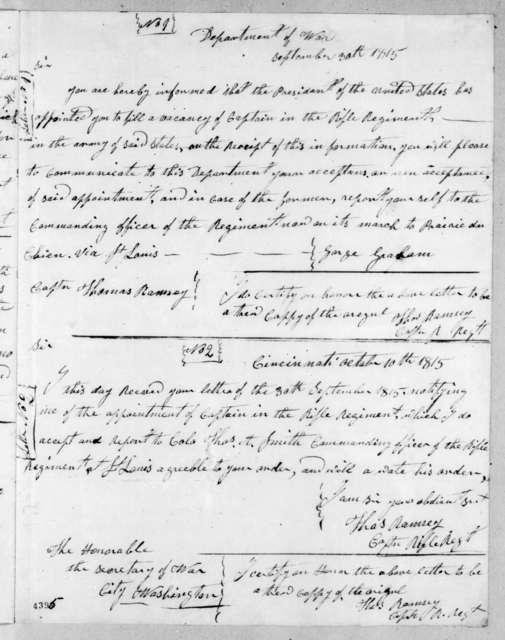George Graham to Thomas Ramsey, October 10, 1815