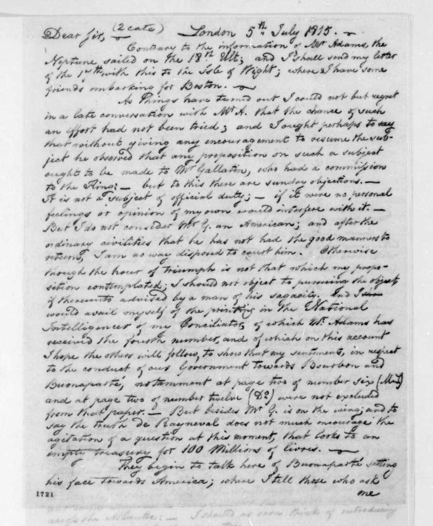 George Joy to James Madison, July 5, 1815.