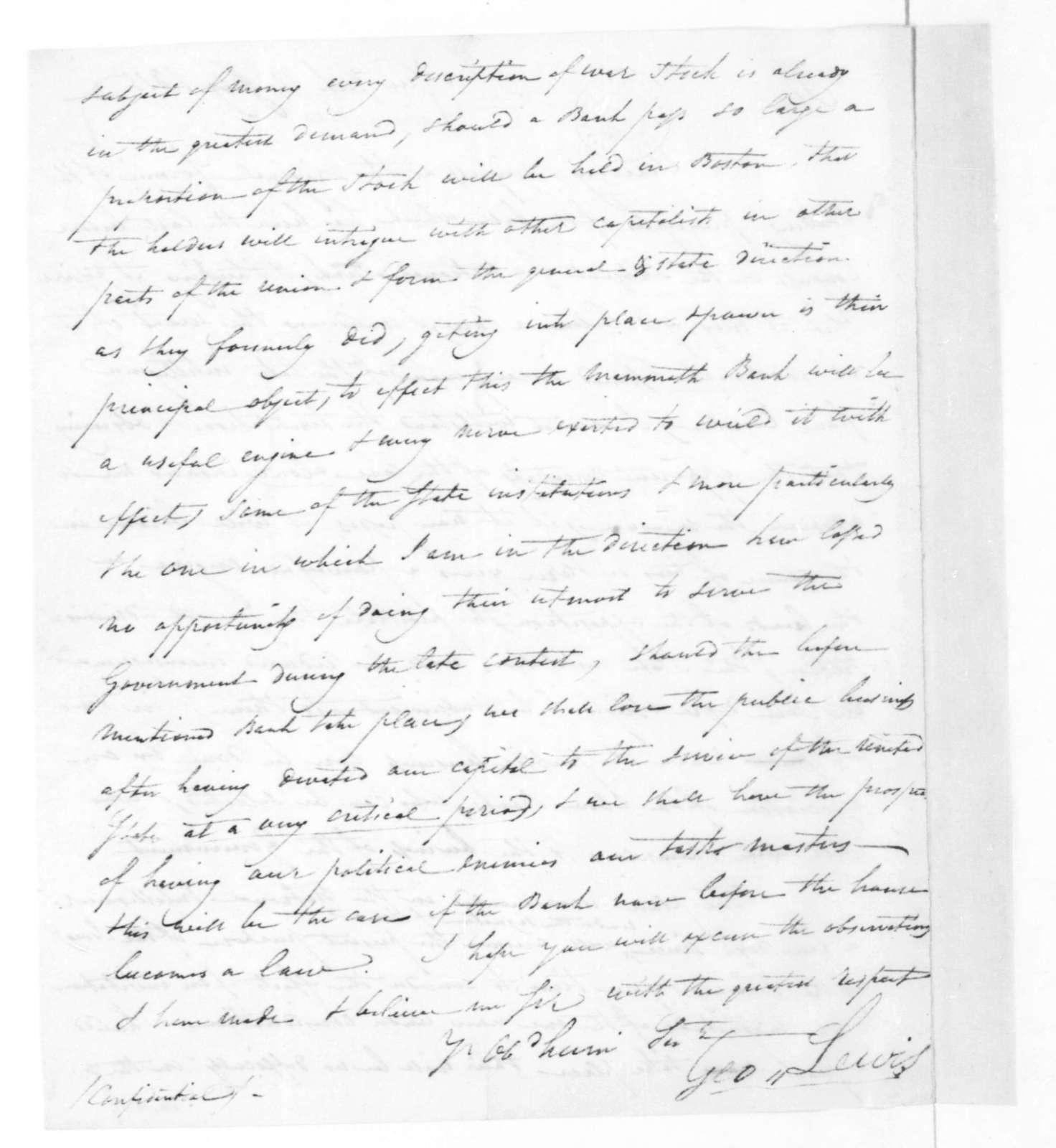 George Lewis to James Madison, February 14, 1815.