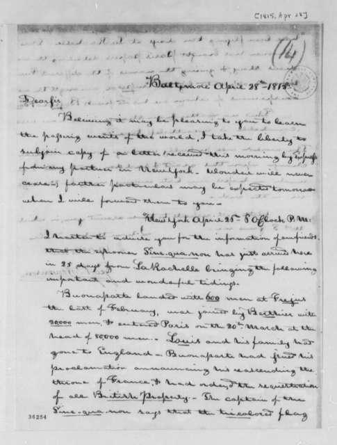 George P. Stevenson to Thomas Jefferson, April 28, 1815