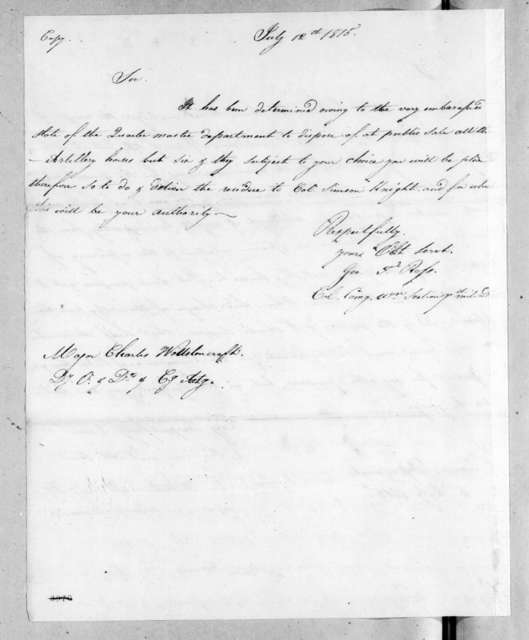 George Thompson Ross to Charles Wollstonecraft, July 12, 1815
