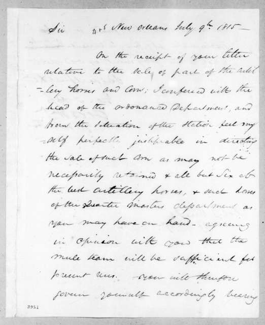 George Thompson Ross to Simeon Knight, July 9, 1815