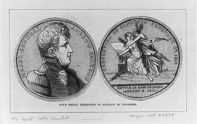 Gold medal presented to Jackson by Congress