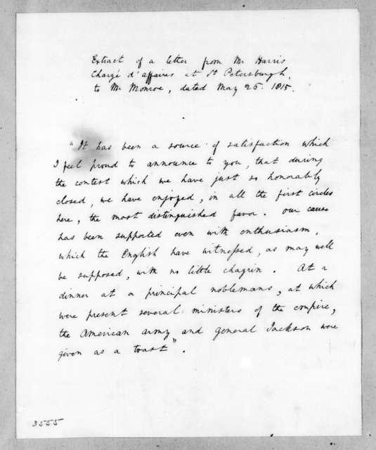 Harris to James Monroe, May 26, 1815