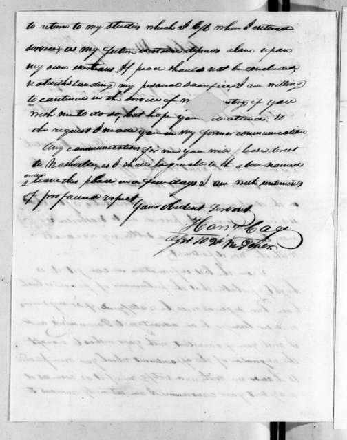 Harry Cage to Andrew Jackson, March 17, 1815