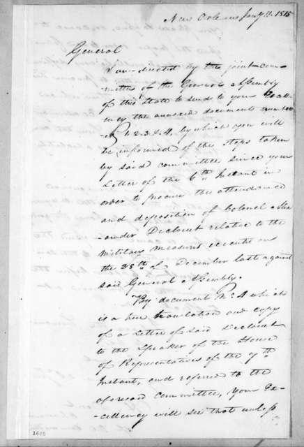 Hatch Dent to Andrew Jackson, January 11, 1815