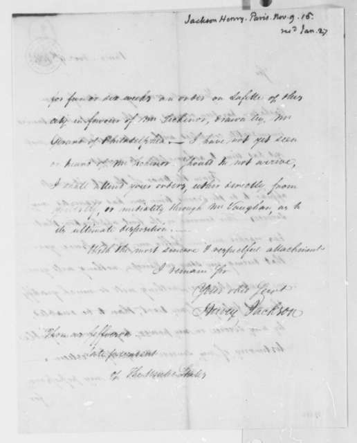 Henry Jackson to Thomas Jefferson, November 9, 1815