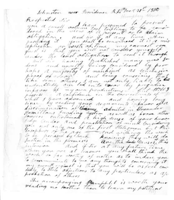 Hosea Humphrey to James Madison, December 31, 1815.