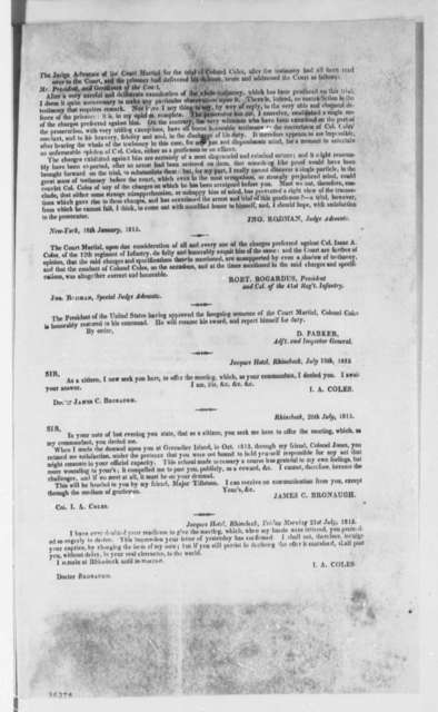 Isaac A. Coles to Thomas Jefferson, July 26, 1815, Circular with Court Martial Documents
