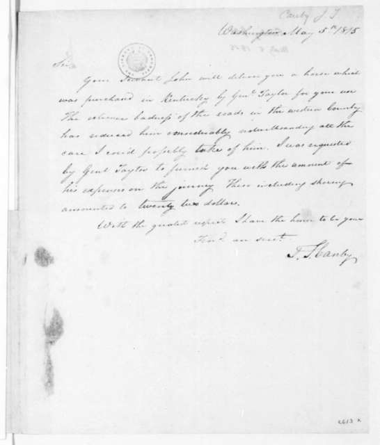 J T Canby To James Madison May 5 1815 Includes Certification
