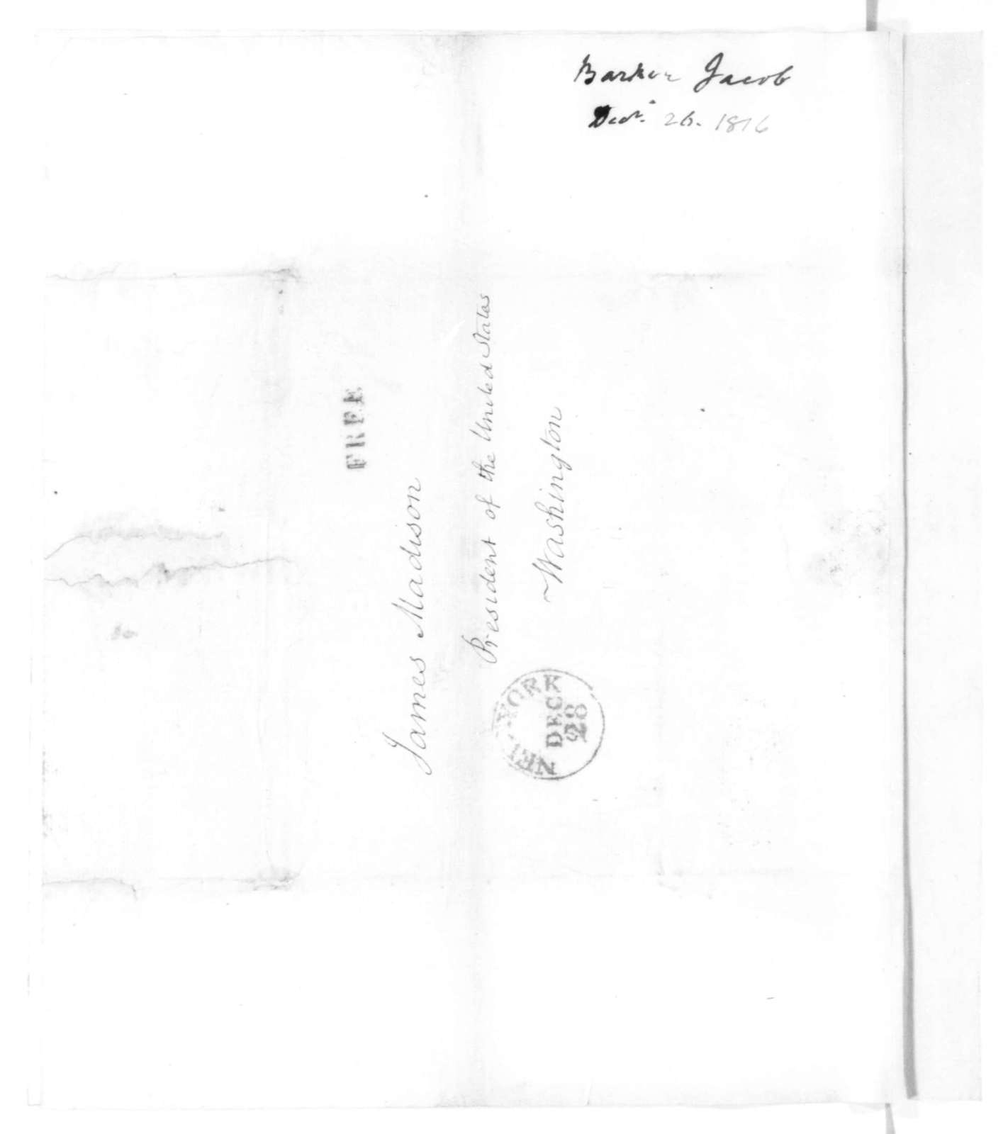 Jacob Barker to James Madison, December 26, 1815.