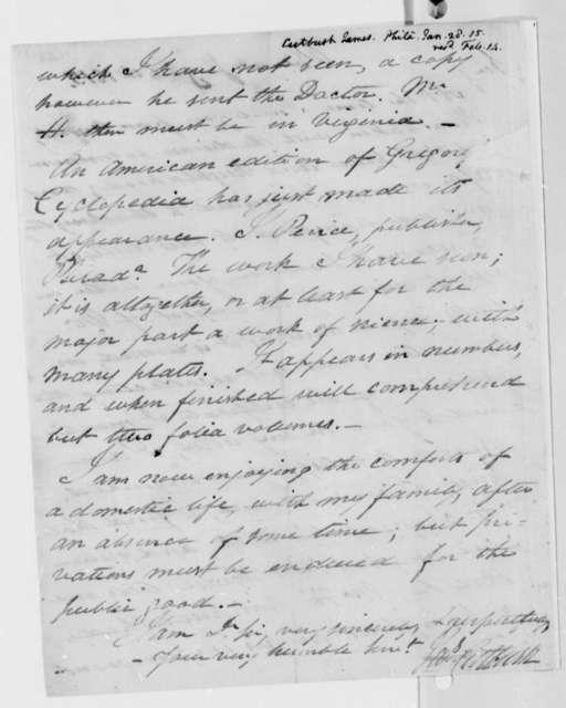 James Cutbush to Thomas Jefferson, January 28, 1815