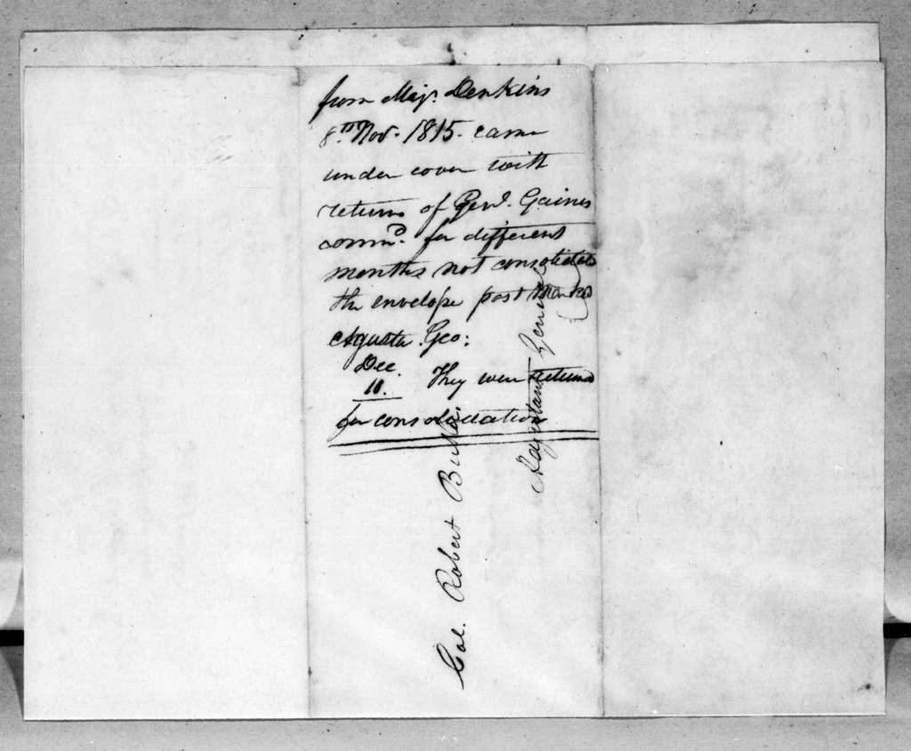 James Edward Dinkins to Robert Butler, November 8, 1815