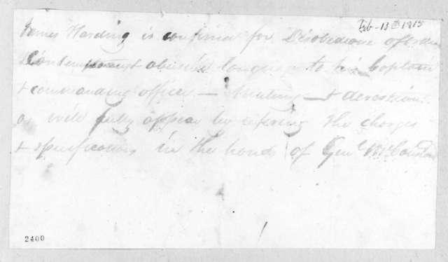 James Harding, February 13, 1815