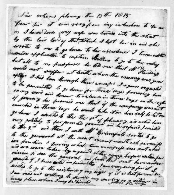James Harding to Andrew Jackson, February 13, 1815