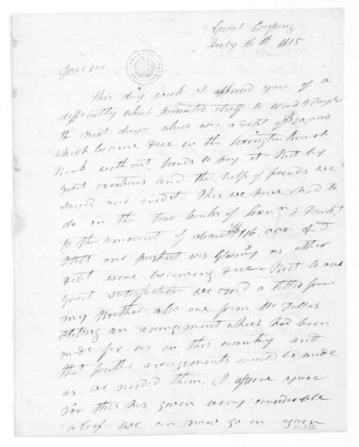 James Johnson to James Madison, July 16, 1815.