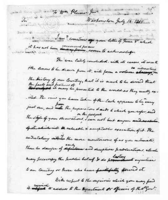 James Madison to William Plumer, July 14, 1815.