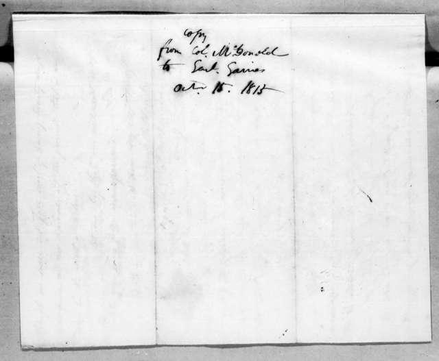 James McDonald to Edmund Pendleton Gaines, October 15, 1815