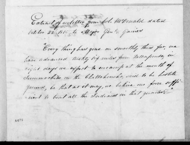 James McDonald to Edmund Pendleton Gaines, October 22, 1815