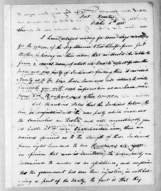 James McDonald to Edmund Pendleton Gaines, October 5, 1815