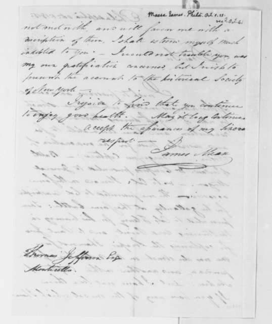 James Mease to Thomas Jefferson, October 1, 1815
