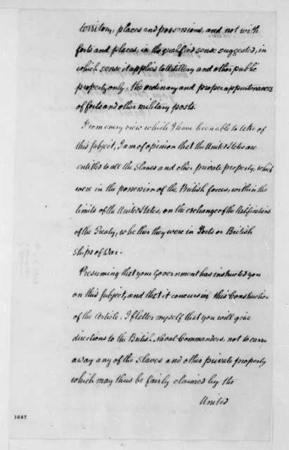 James Monroe to Anthony S. Baker, April 1, 1815.