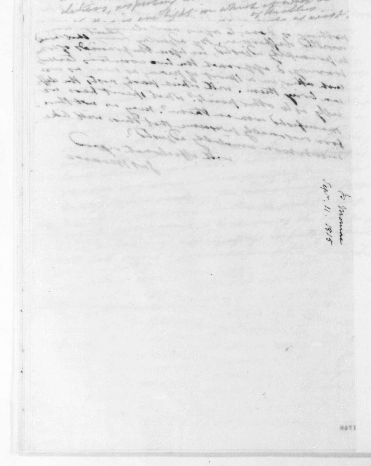 James Monroe to James Madison, September 11, 1815.