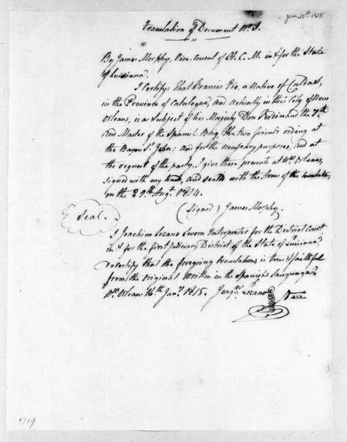 James Murphy to Francisco Fio, January 16, 1815