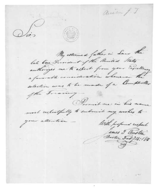 James T. Austin to James Madison, February 14, 1815.