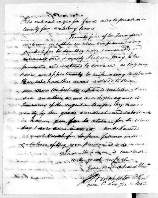 James Winchester to Andrew Jackson, February 3, 1815